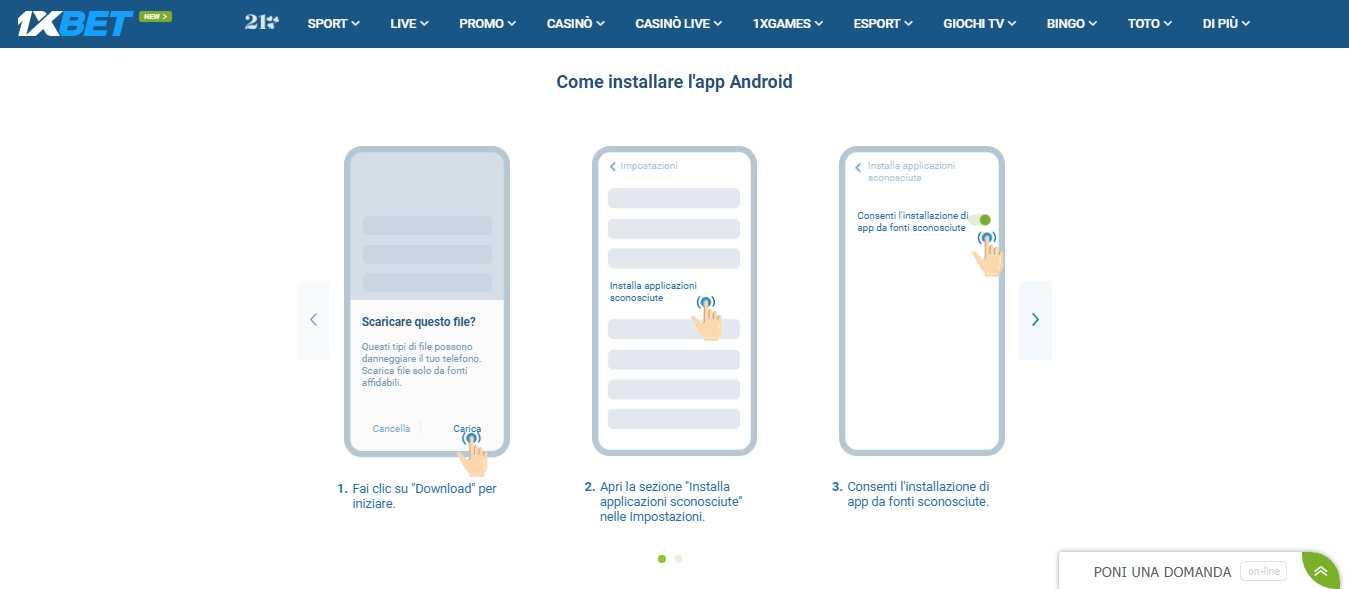 Come ottenere 1xBet App su Android